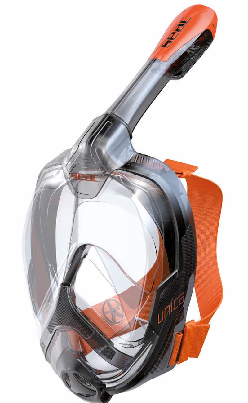 Celoobličejová šnorchlovací maska Seac Unica černooranžová